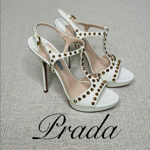 PRADA WHITE LEATHER GOLD STUDDED HEELS